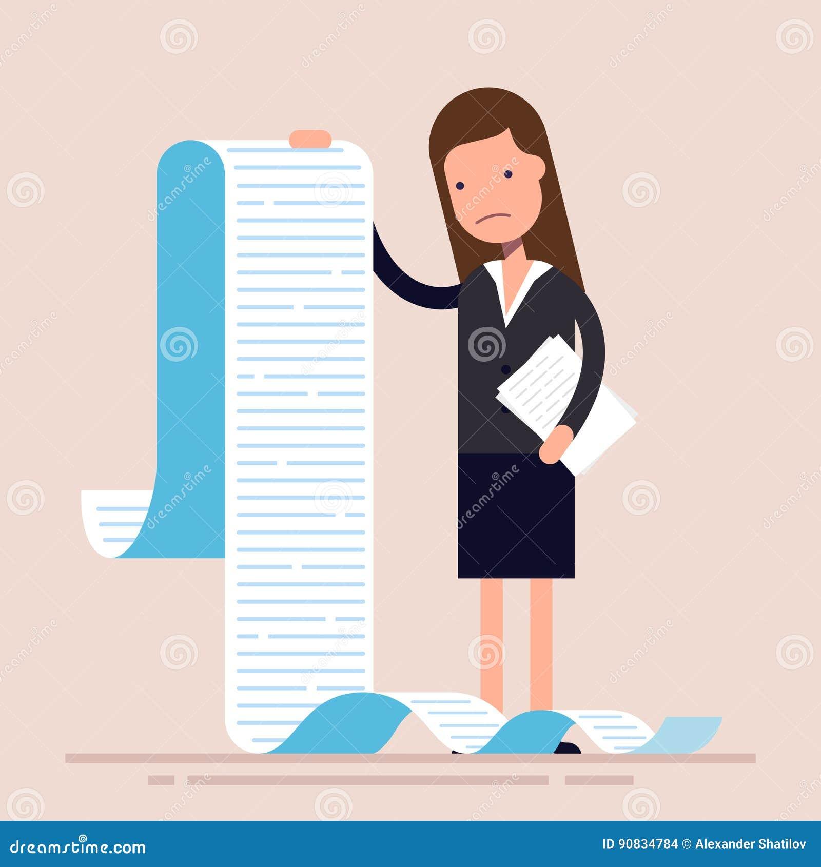 Geschäftsfrau oder Manager, halten eine lange Liste oder eine Rolle von Aufgaben oder Fragebogen Frau in einem Anzug flach
