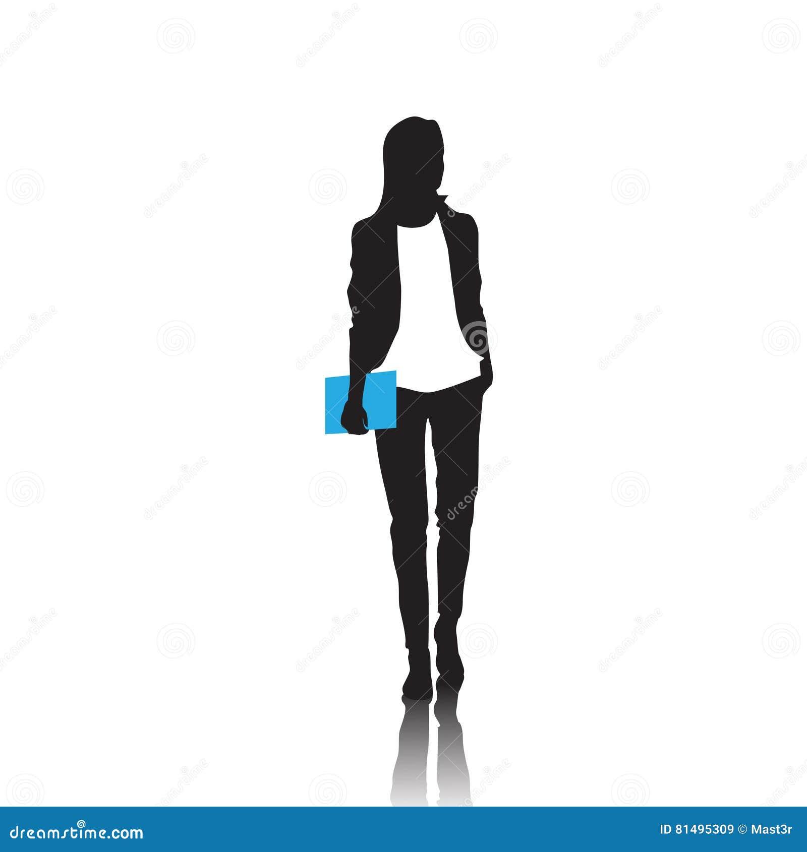 Geschäftsfrau-Schwarz-Schattenbild in voller Länge über weißem Hintergrund
