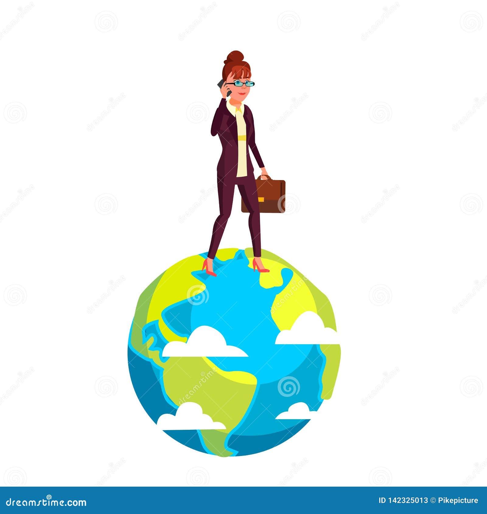 Geschäftsfrau Walking On Planet mit Aktenkoffer-in der Hand Vektor-flacher Karikatur-Illustration
