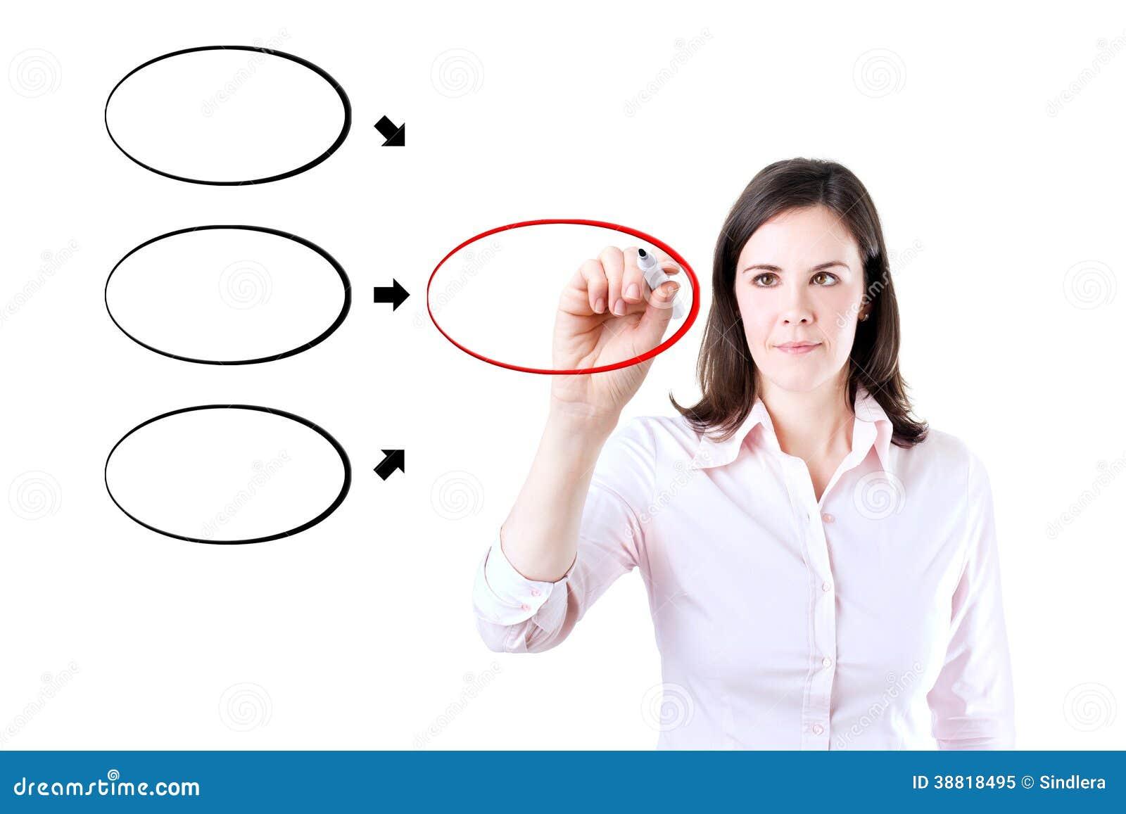 Geschäftsfrau-Zeichnungsdiagramm Auf Whiteboard. Stockbild - Bild ...