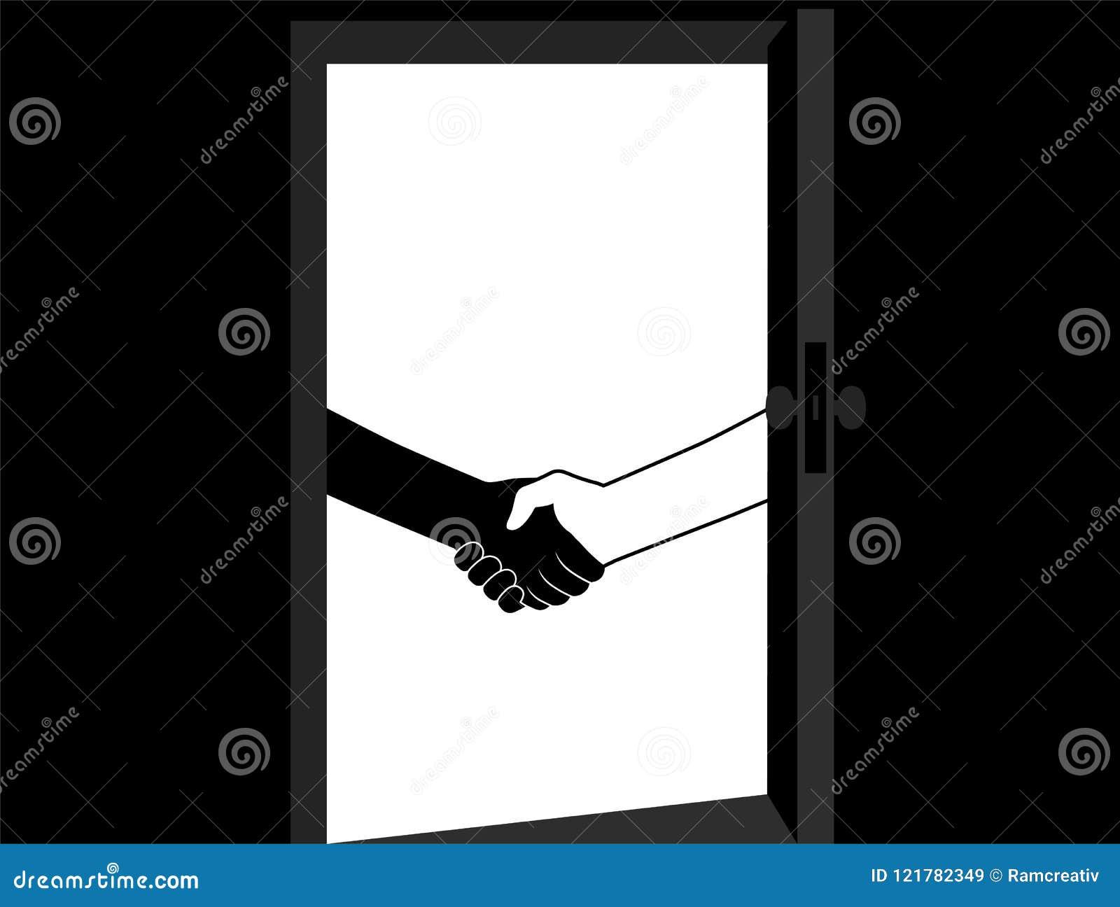 ac0e1c184d2af Geschäftshändedruck Hinter Der Tür Vertrag