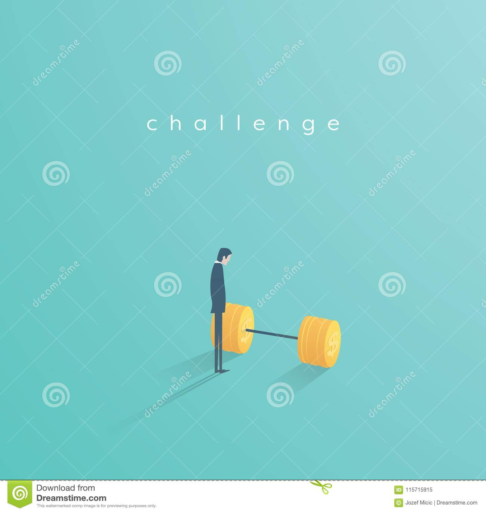 Geschäftsherausforderungs-Vektorkonzept mit dem Geschäftsmann, der nahe bei Gewichten steht Symbol der Motivation, Ehrgeiz, Inspi