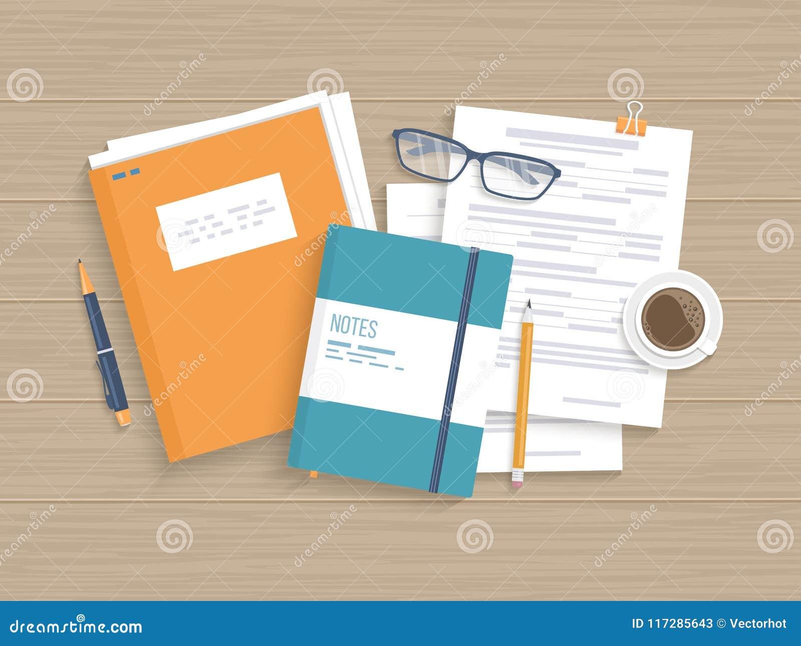 Geschäftsholztisch mit Dokumenten, Formen, tapeziert Ordner Arbeiten Sie, Arbeitsplatzanalyse-Forschungsplanung, Management