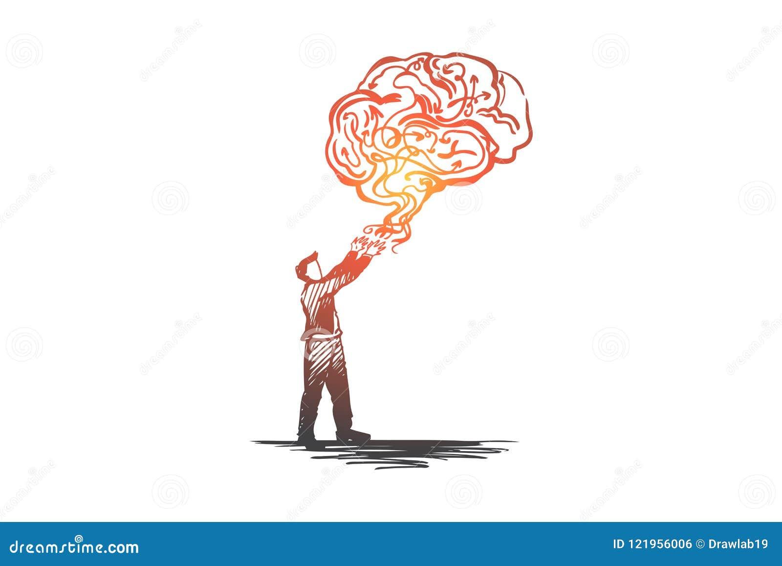 Geschäftsidee, kreativ, lösend, Lösung, Kreativitätskonzept gedanklich Hand gezeichneter lokalisierter Vektor
