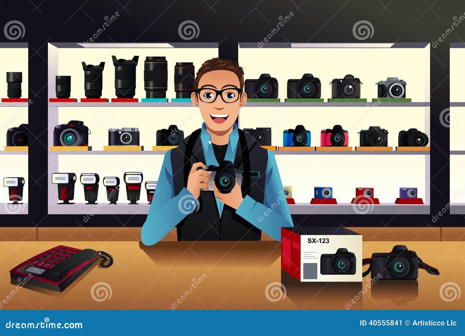 Geschäftsinhaber in einem Kameraspeicher