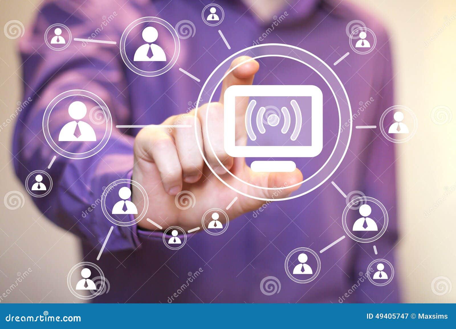 Download Geschäftsknopfnetz Wifi Verbindungscomputer-Ikonenleute Stock Abbildung - Illustration von zukunft, finger: 49405747