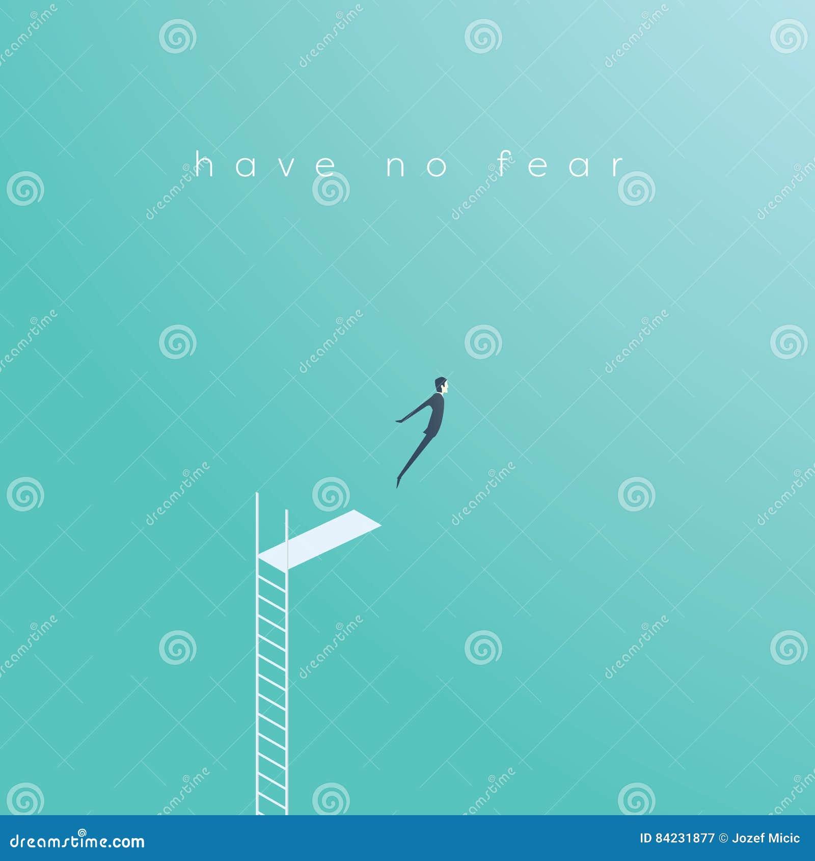 Geschäftskonzept des Mutes, Herausforderung, Risiko, das mit Geschäftsmannvektorillustration nimmt