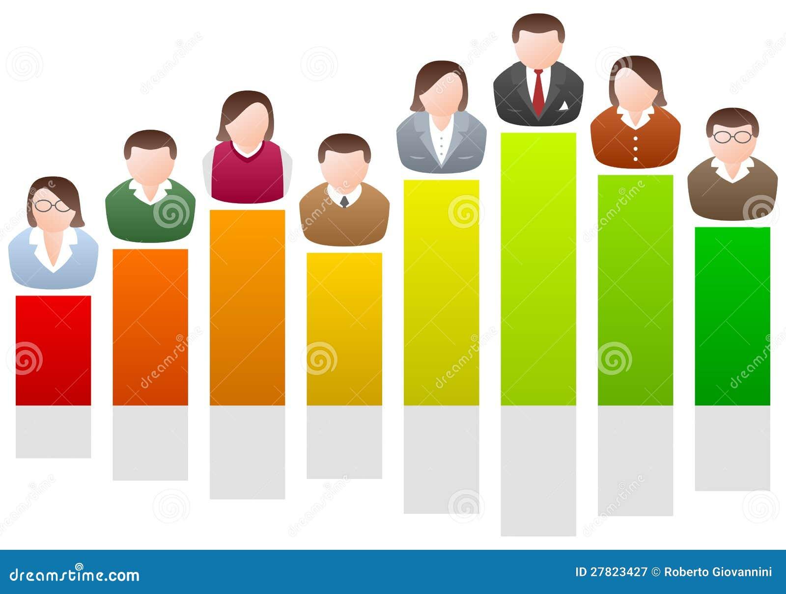 Geschäftsleute auf Diagramm