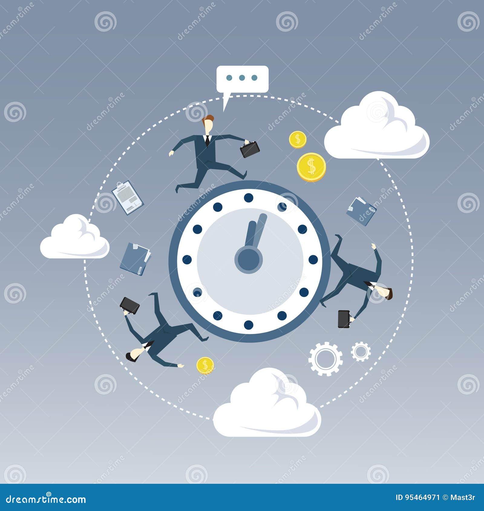 Geschäftsleute gruppieren das Drehen um Wecker-Fristen-Zeit-Management-Konzept