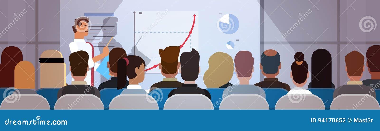 Geschäftsleute gruppieren an den Konferenz-Sitzungs-Ausbildungskursen Flip Chart mit Diagramm