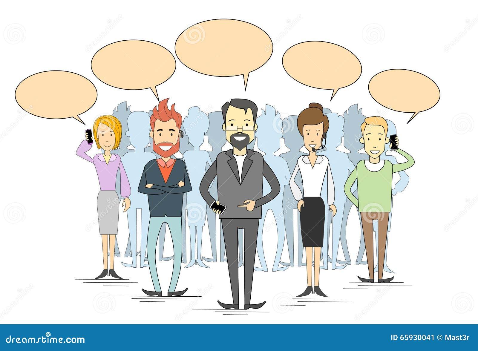 Geschäftsleute gruppieren unter Verwendung der Anruf-Chat-Kasten-Internet-Kommunikation Zelldes intelligenten Telefon-Betreibers