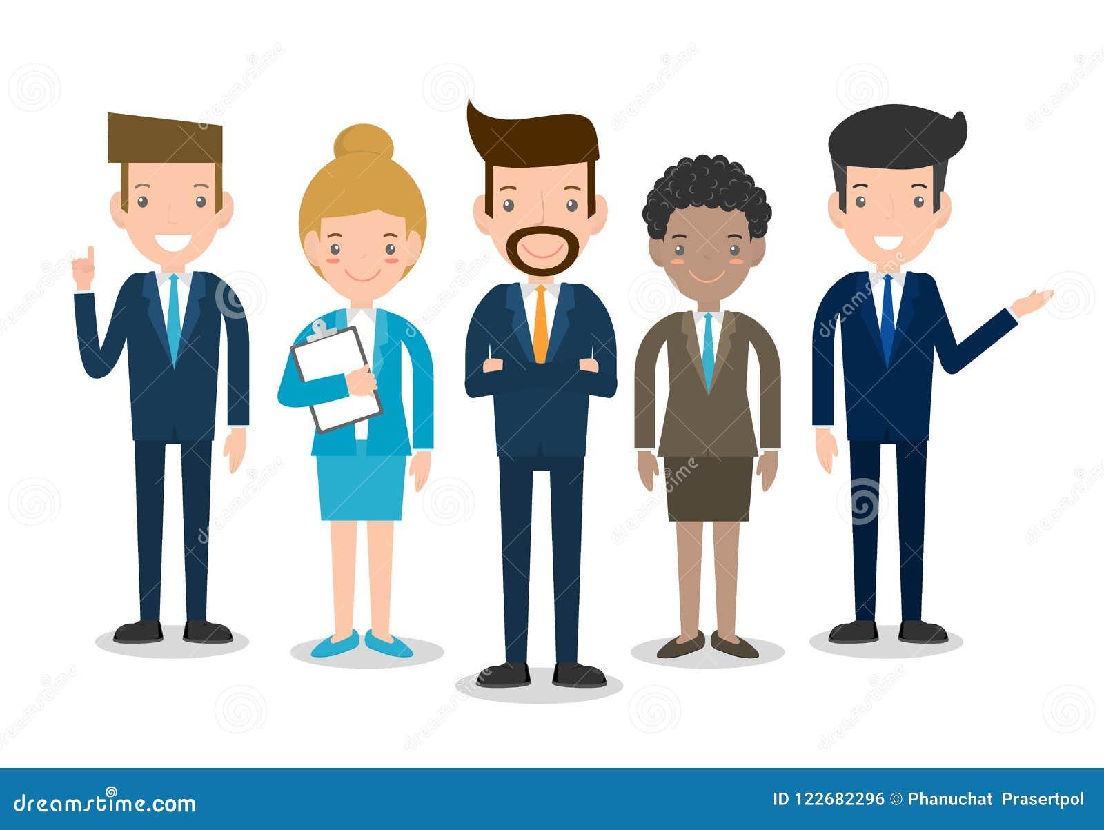 Geschäftsleute gruppieren verschiedenes Team-, Geschäftsteam von Angestellten und von Chef, Geschäftsmann und Geschäftsfrau