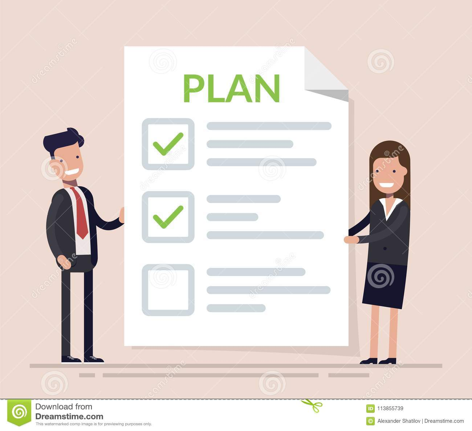 Geschäftsleute, Mann und Frau, die mit großem Klemmbrett und Checkliste KonzeptUnternehmensplan in der Aktion stehen glücklich