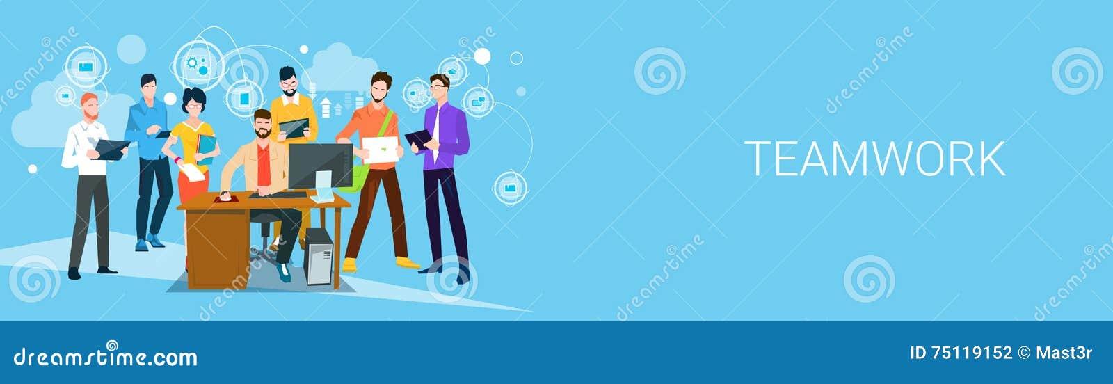 Geschäftsleute Team Boss Manager Sit Working-Desktop-Fahnen-