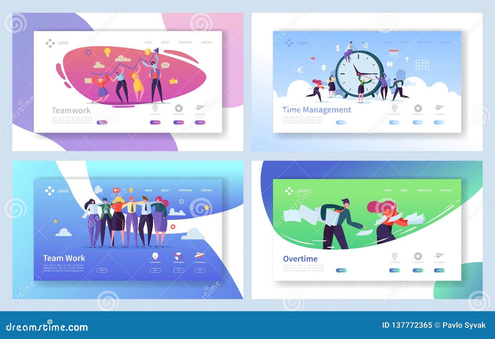 Geschäftsleute Teamwork-Landungs-Seiten-Satz- Kreativer Unternehmens-Team Collaboration Work für Innovations-Zeit-Management