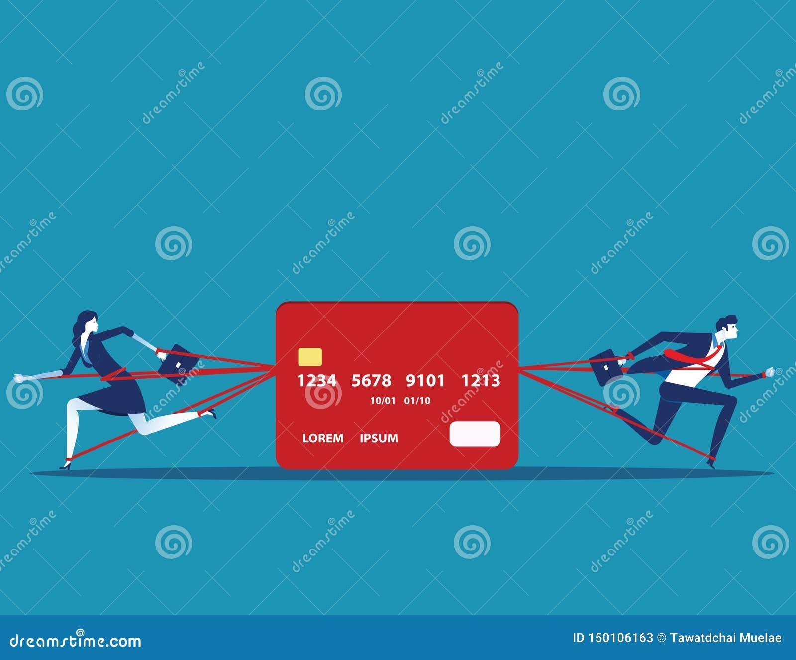 Geschäftsleute und festgelegte Schuld mit Kreditkarte Konzeptgesch?fts-Vektorillustration