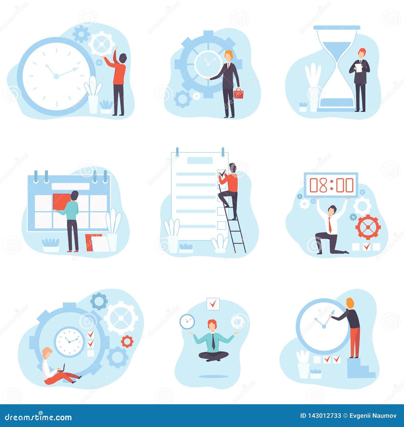 Geschäftsmänner Planung und Steuerarbeitszeit-Satz, Zeit-Management-Geschäfts-Konzept-Vektor-Illustration