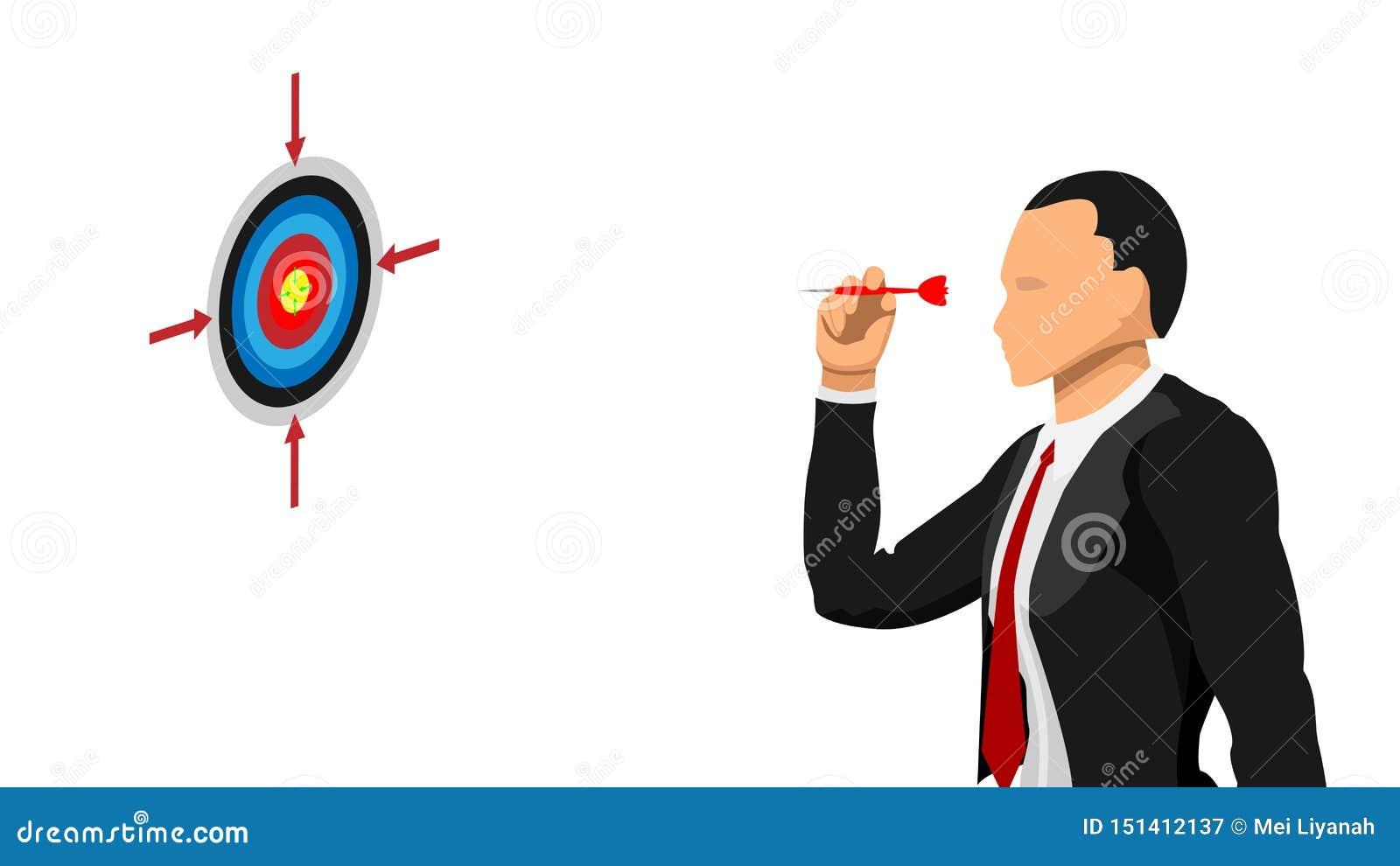 Geschäftsmänner visieren das Ziel an