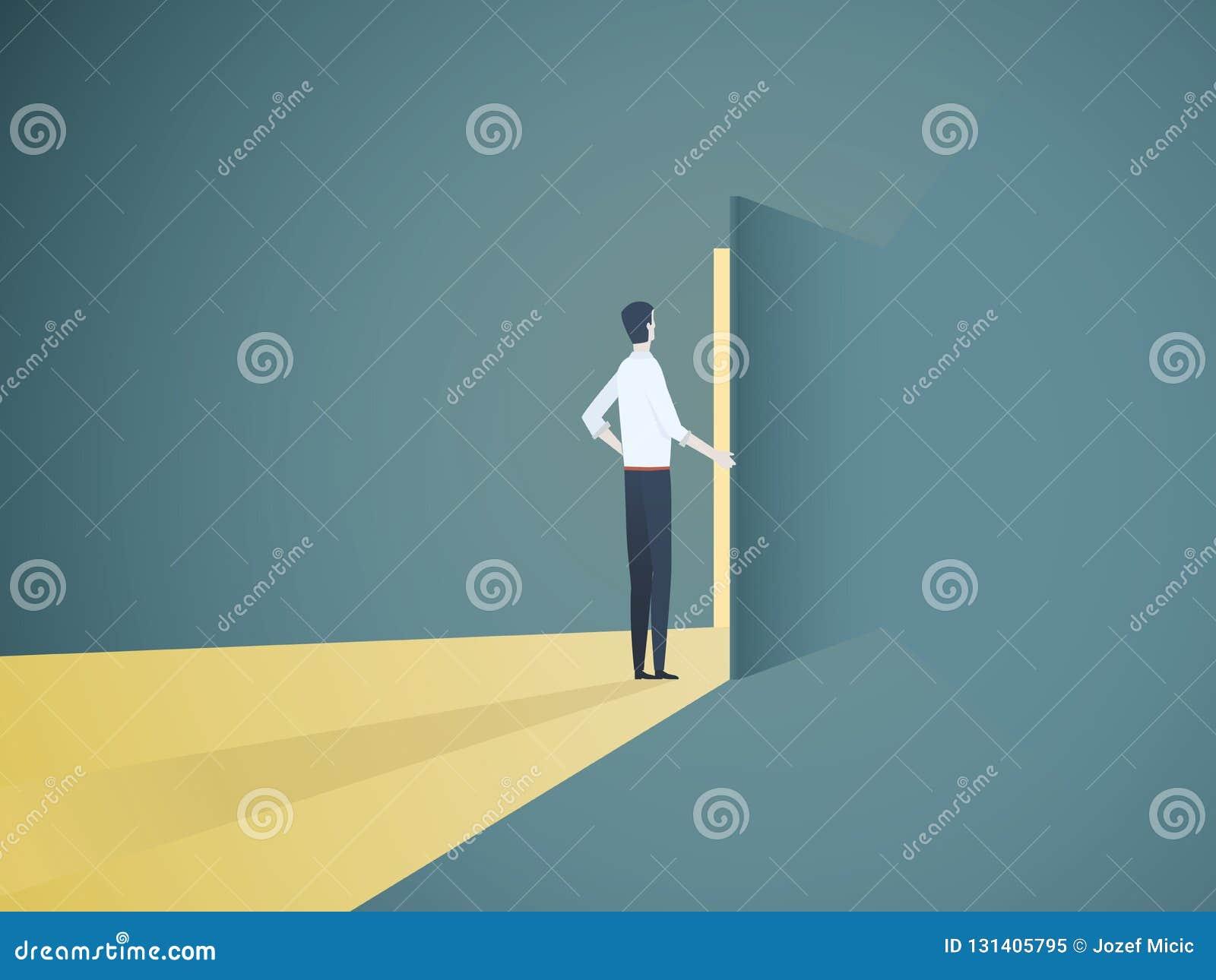 Geschäftsmannöffnungstür-Vektorkonzept Symbol der neuen Karriere, der Gelegenheiten, der Unternehmen und der Herausforderungen