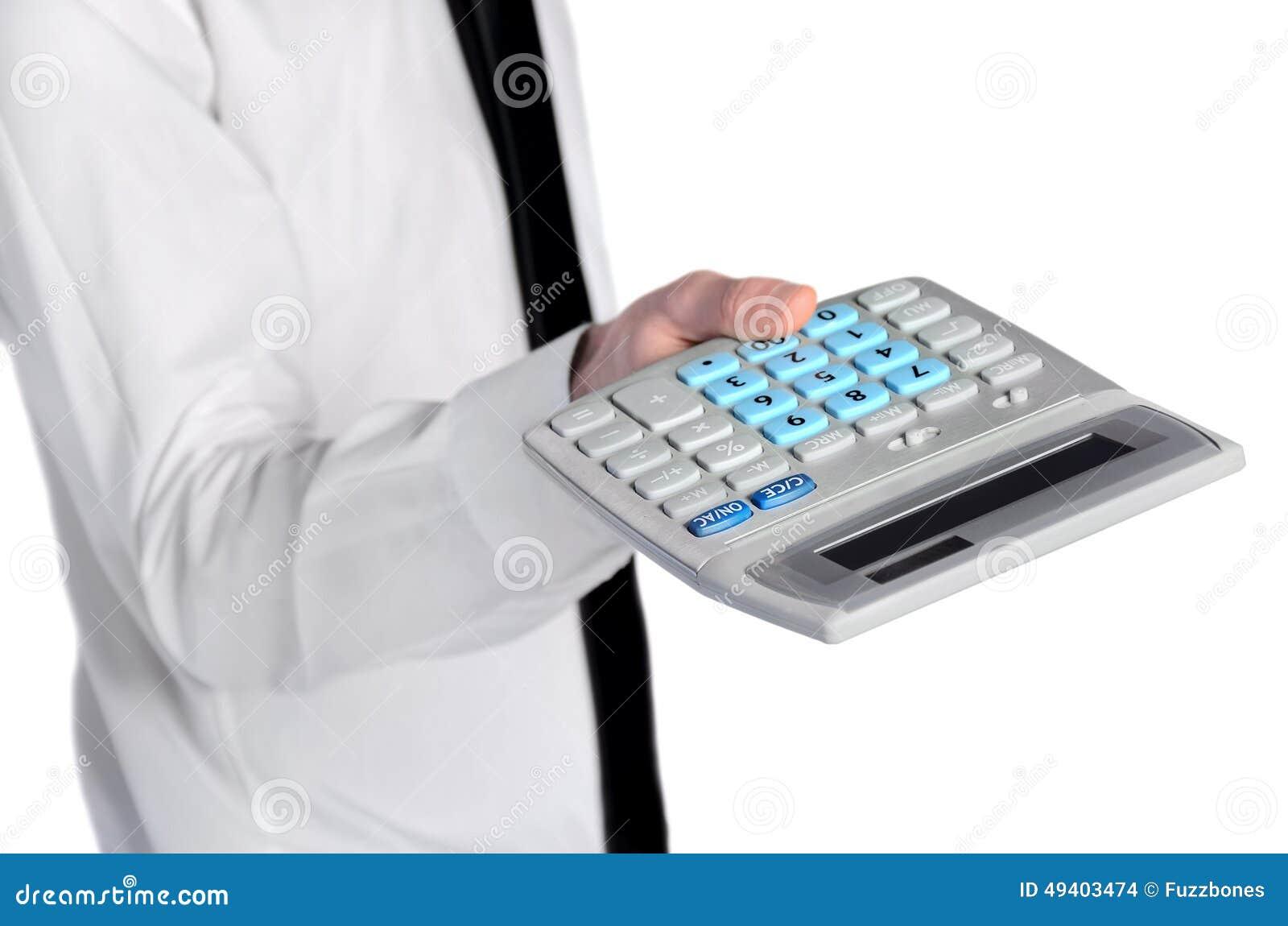 Download Geschäftsmann-Angebottaschenrechner Stockfoto - Bild von konzept, rechner: 49403474