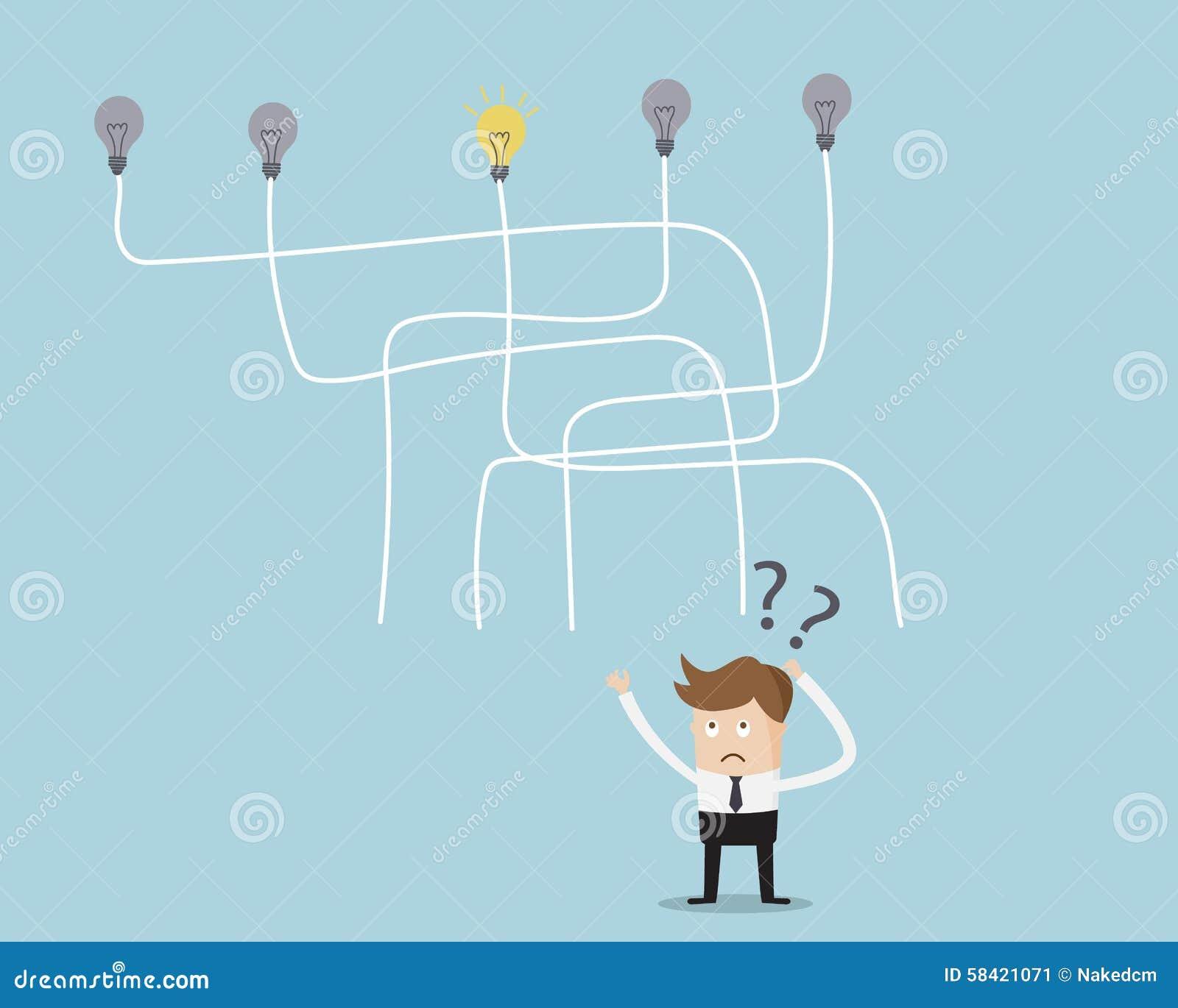 Geschäftsmann-Choose-Weise, Idee zu erhalten