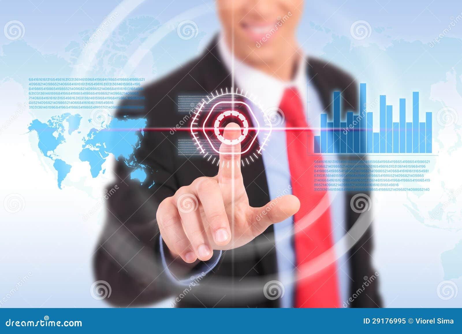Geschäftsmann, der Diagramm für Geschäftsaktienmarkt drückt