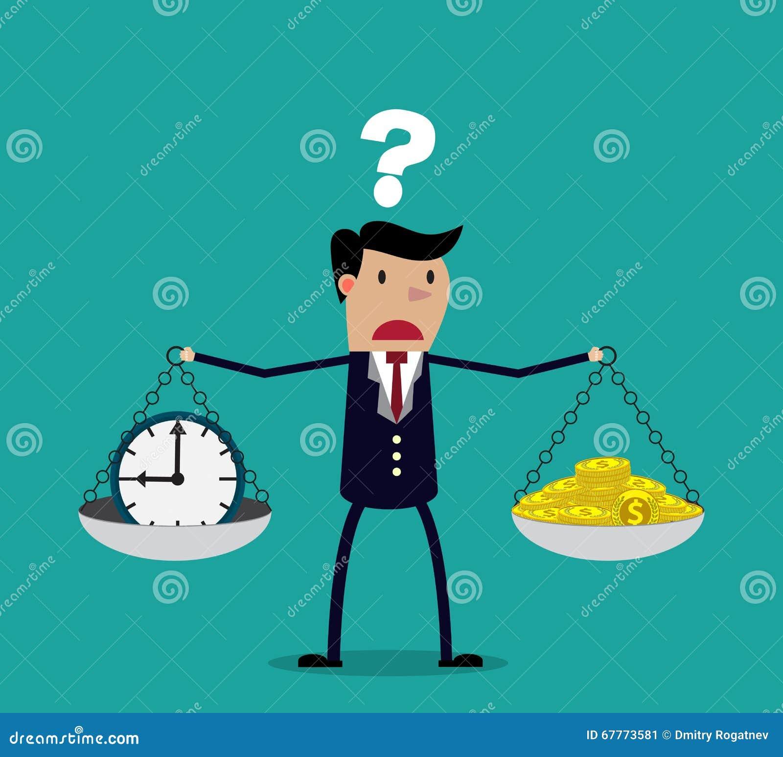Geschäftsmann, der Entscheidung zwischen Zeit oder Geld trifft