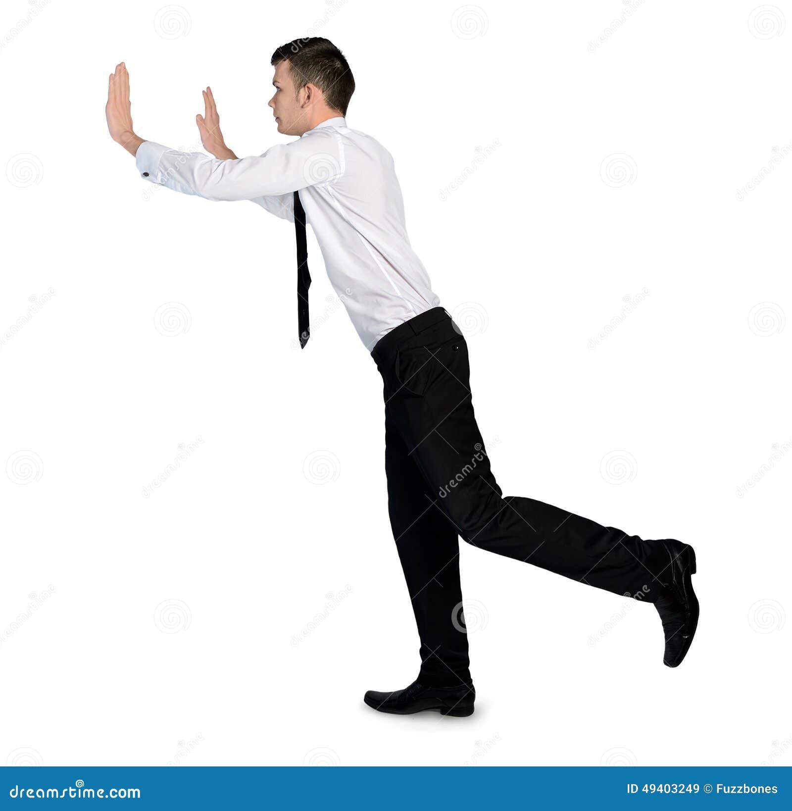 Download Geschäftsmann, Der Etwas Drückt Stockbild - Bild von geschäft, ermittlung: 49403249