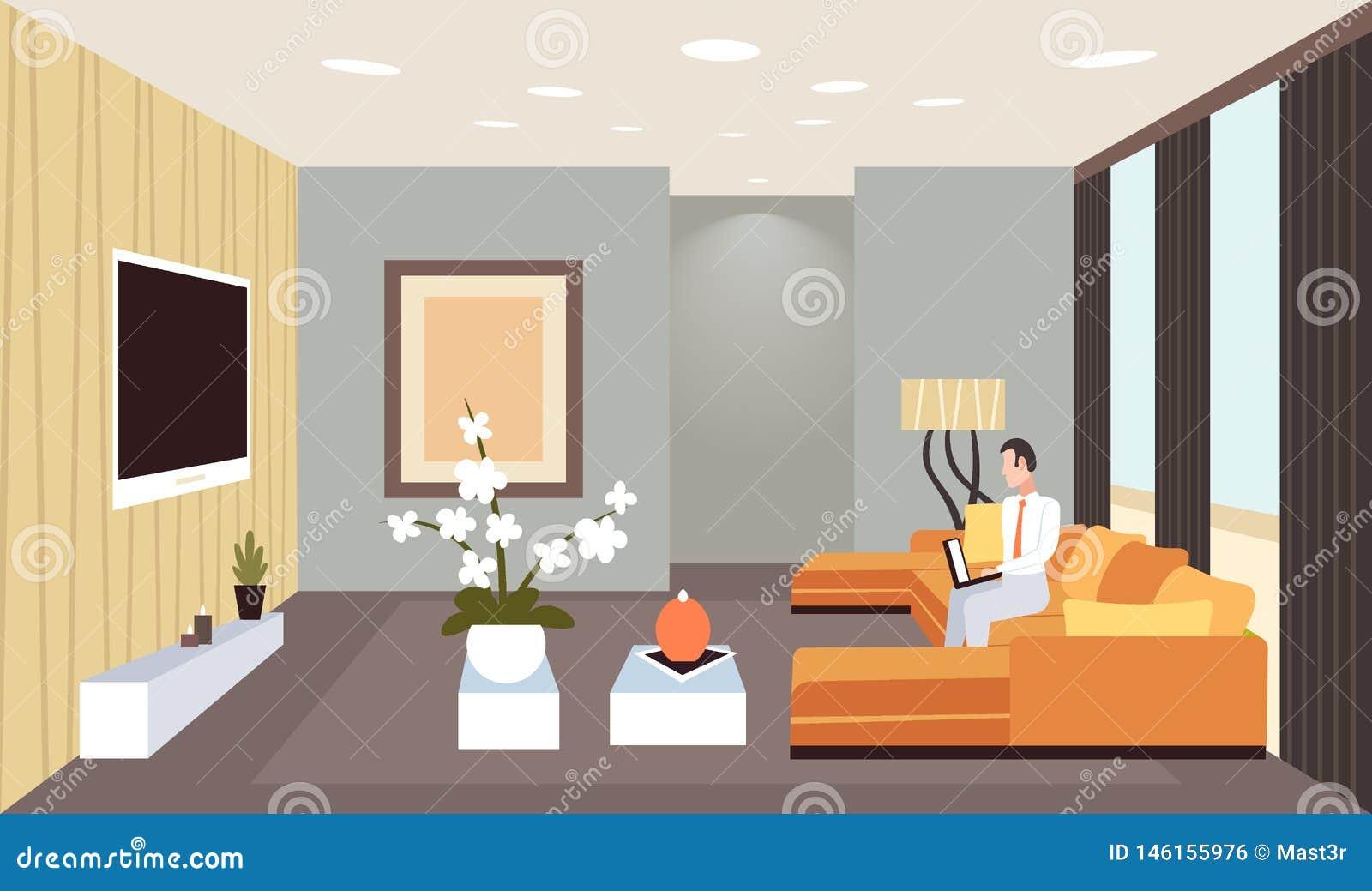 Geschäftsmann, der flach auf Couch unter Verwendung Wohnungshauptentwurfs des zeitgenössischen Wohnzimmers des Laptops des Innenm