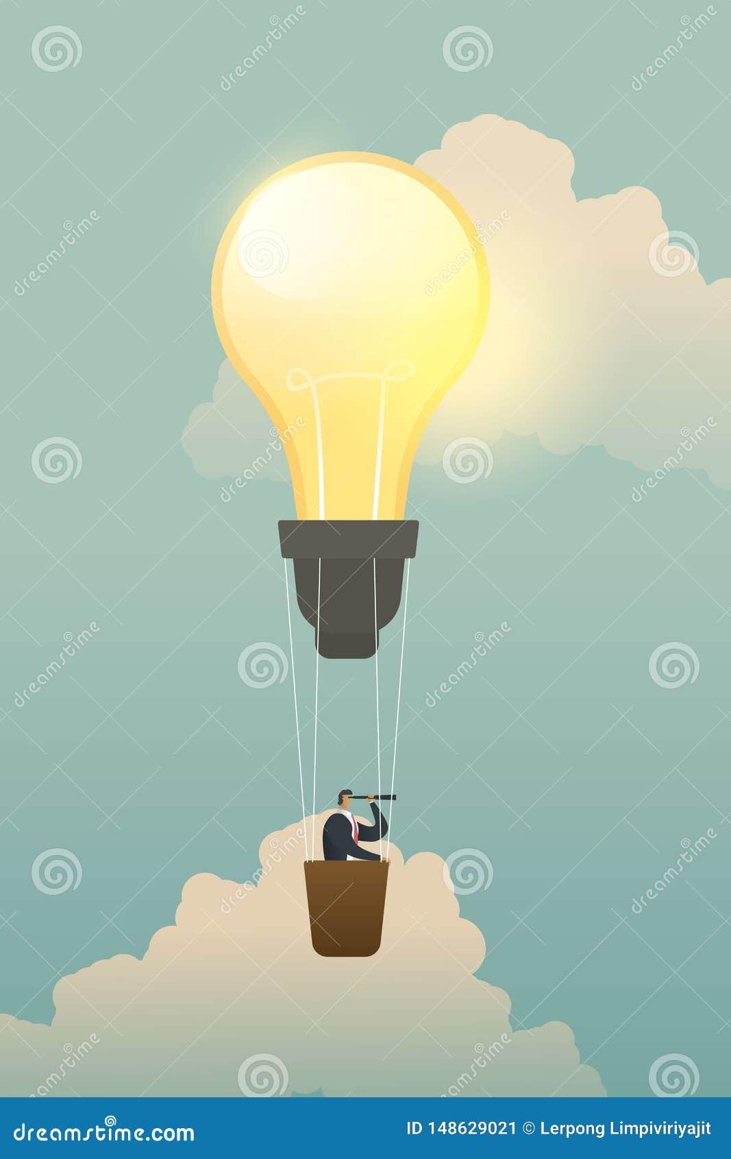 Geschäftsmann, der nach Gelegenheiten auf Birnenlampenballon sucht