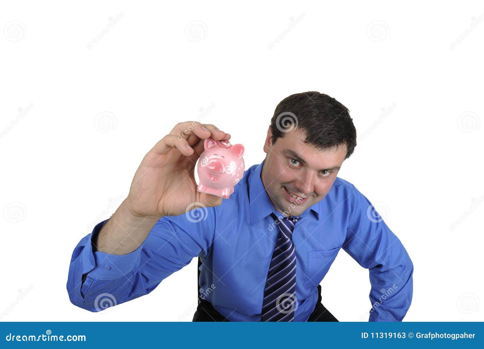 Geschäftsmann, der piggy Querneigung anhält