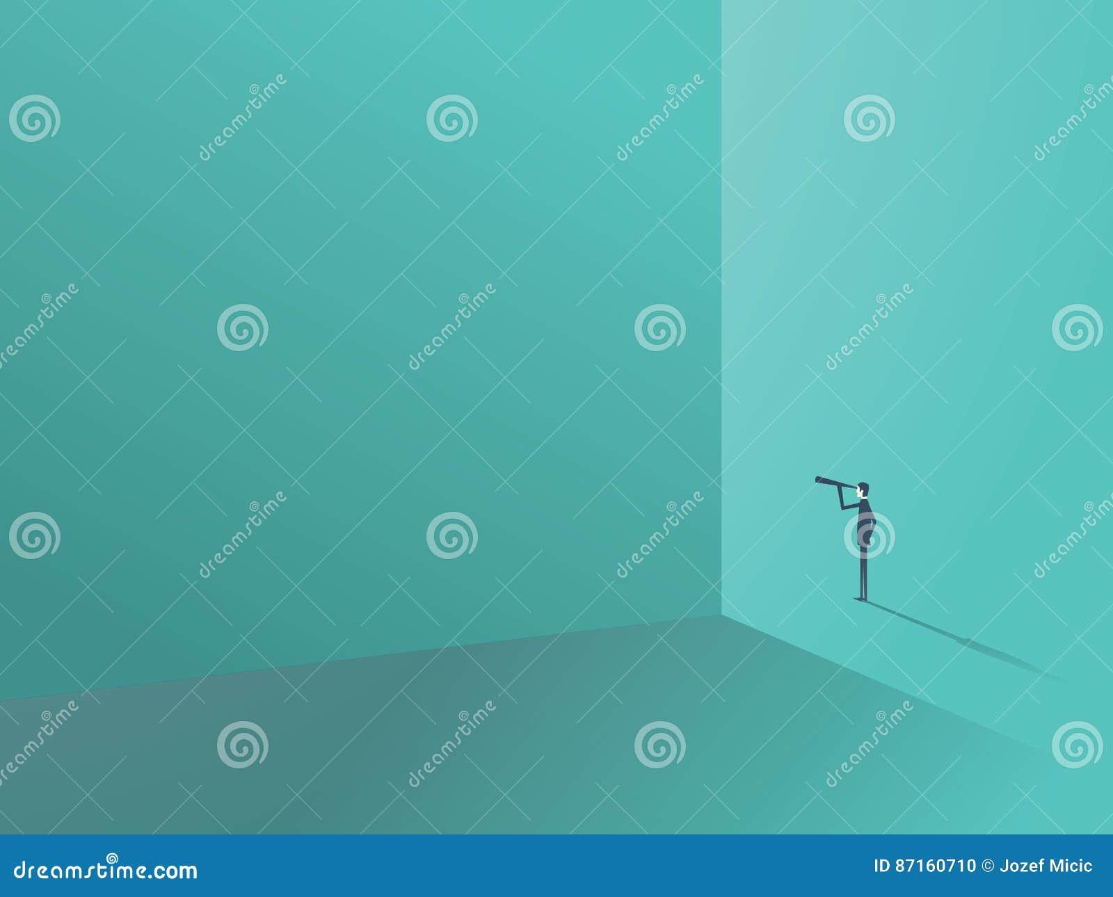 Geschäftsmann, der um die Ecke durch Monocular der großen Wand schaut Geschäftssymbol für Führung, Visionär und