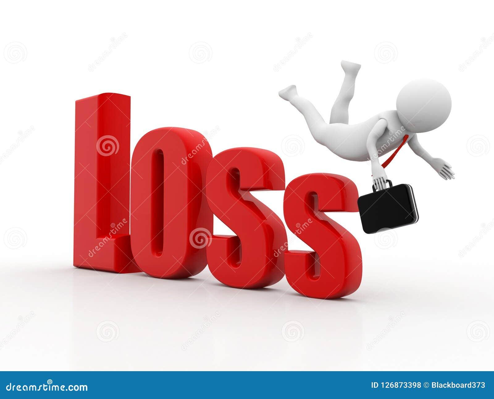 Geschäftsmann, der vom Verlust, Finanzkrisekonzept, Wirtschaftskrise fällt Geschäftsfall, Wiedergabe 3d