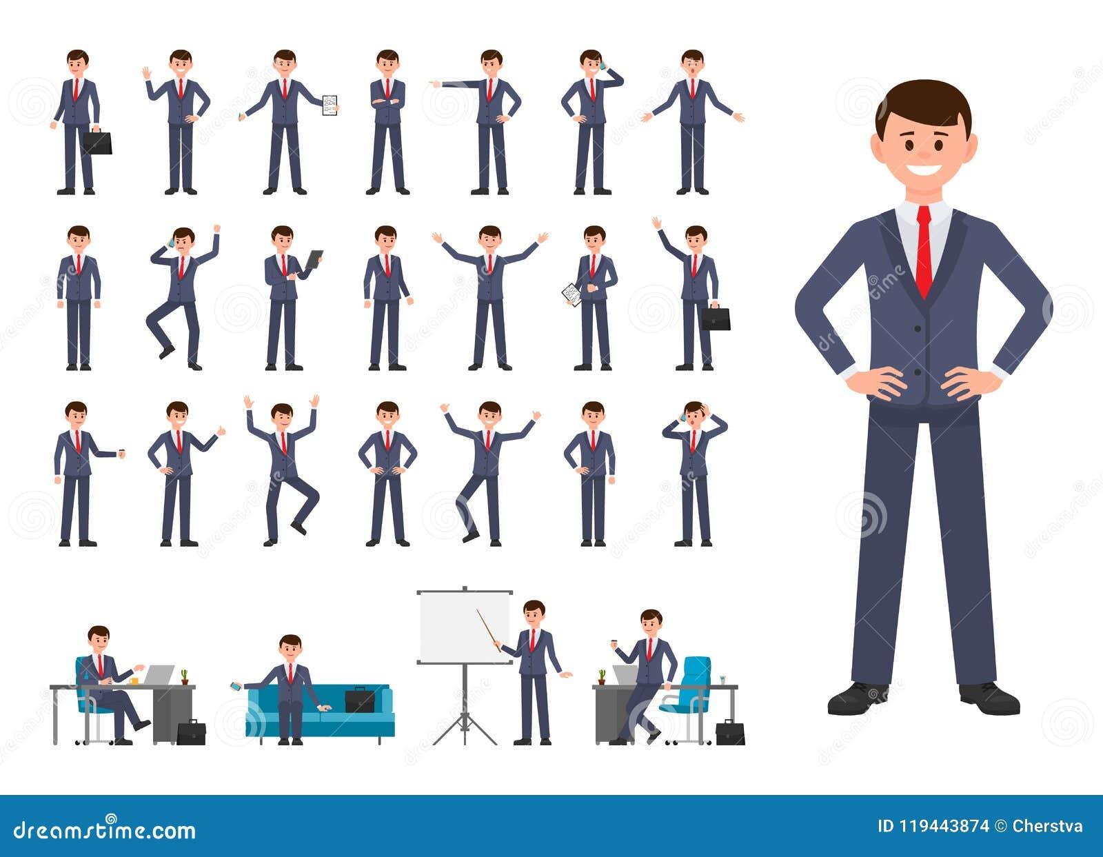 Geschäftsmann in der Zeichentrickfilm-Figur der dunkelblauen Klage Vektorillustration der Person arbeitend im Büro
