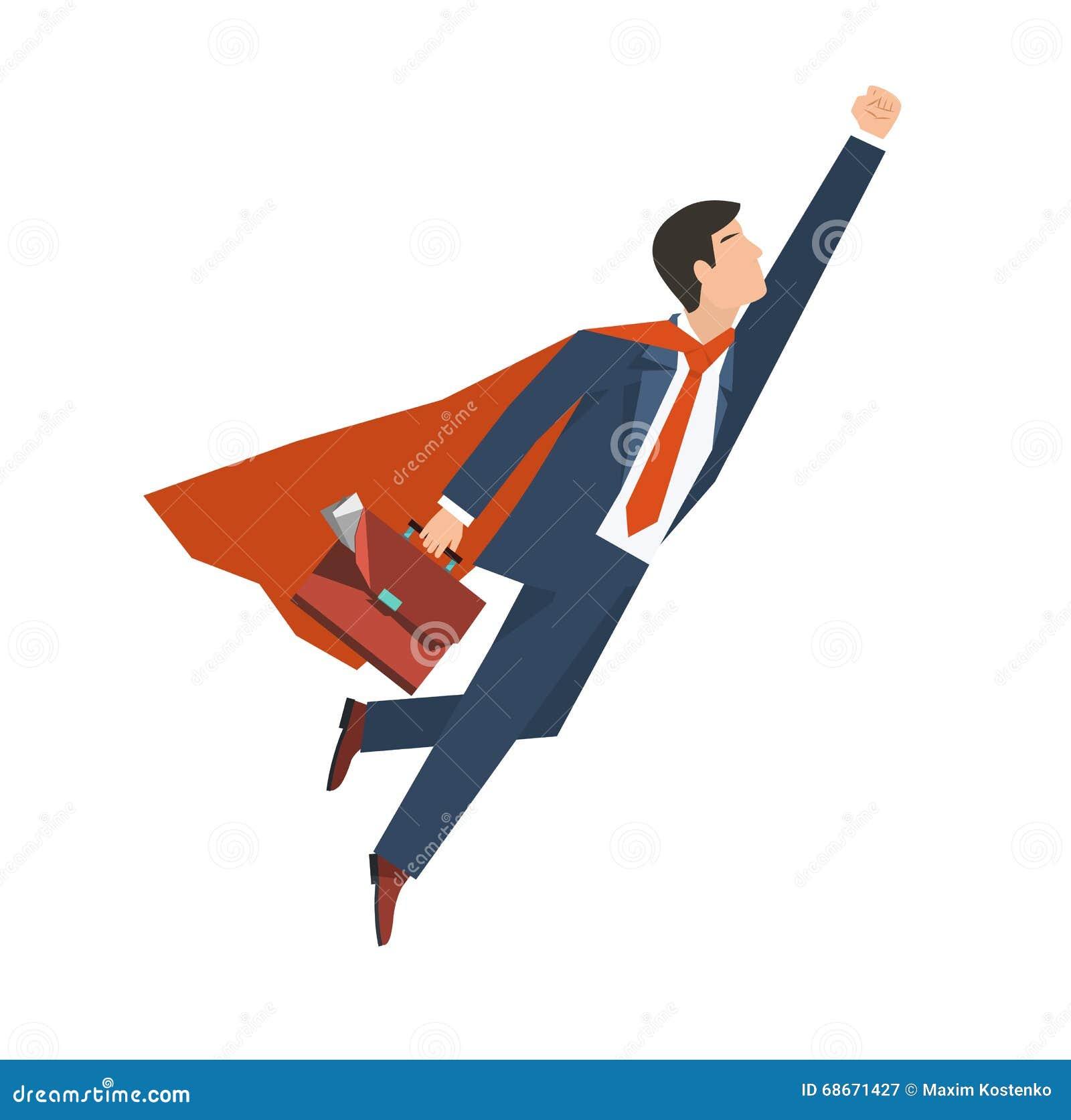 Geschäftsmann in einem Klagensuperhelden fliegt oben Führung und Geschäftswachstumskonzept Flaches Design Auch im corel abgehoben