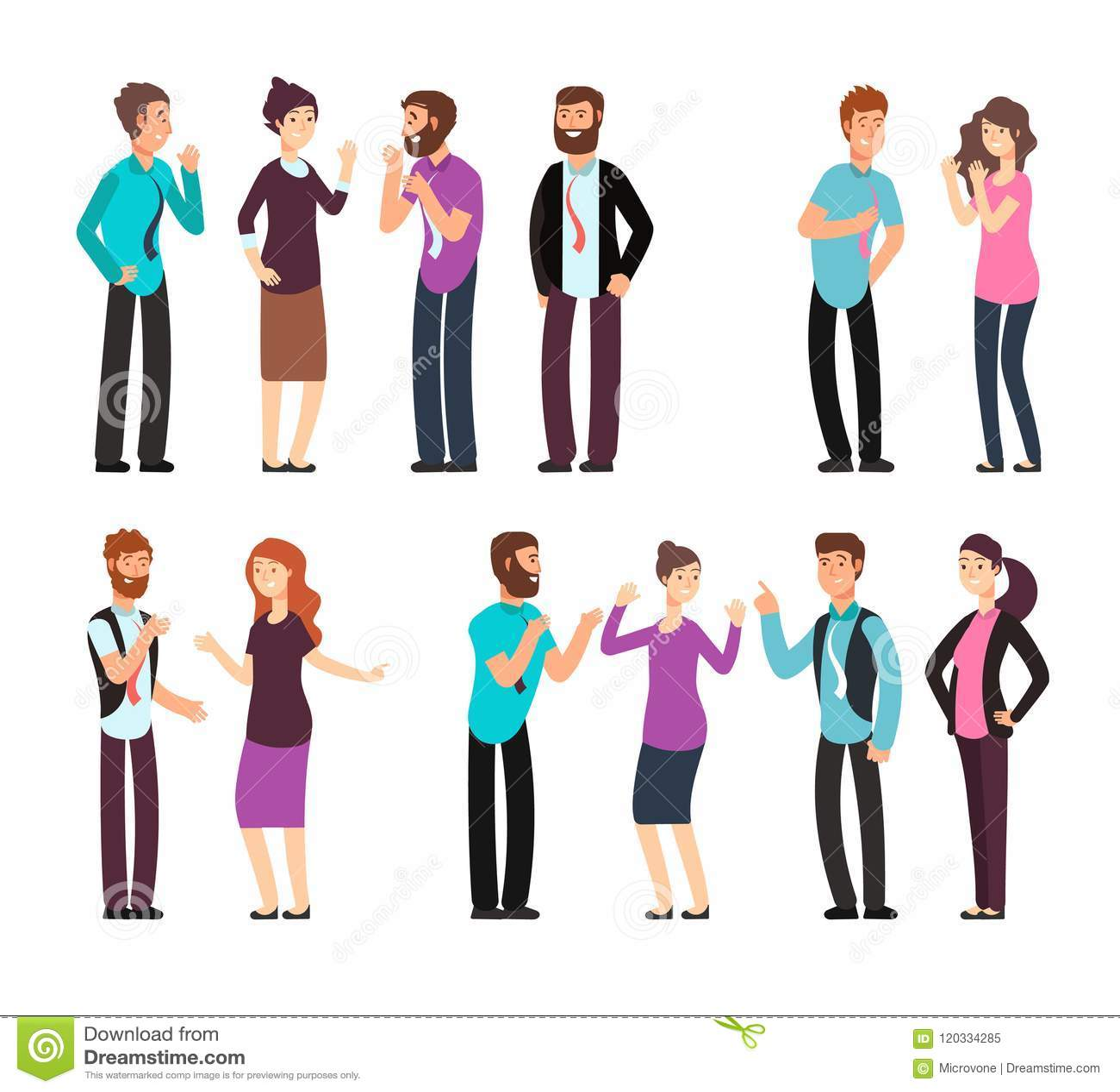 Geschäftsmann, Frau und Leute haben Gespräch, die Diskussion und sprechen und hören Karikaturvektorcharaktere eingestellt