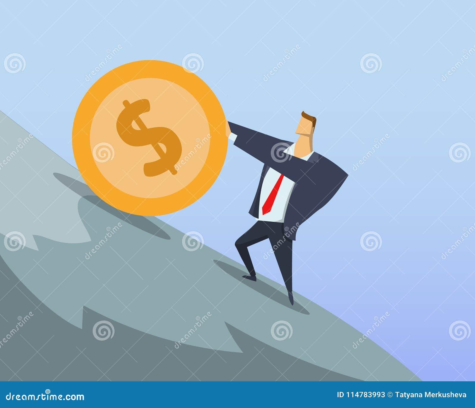 Geschäftsmann im Büroanzug, der große Dollarmünze herauf den steilen Hang drückt Sisyphean-Arbeit Sisyphean-Geschäft erzielen