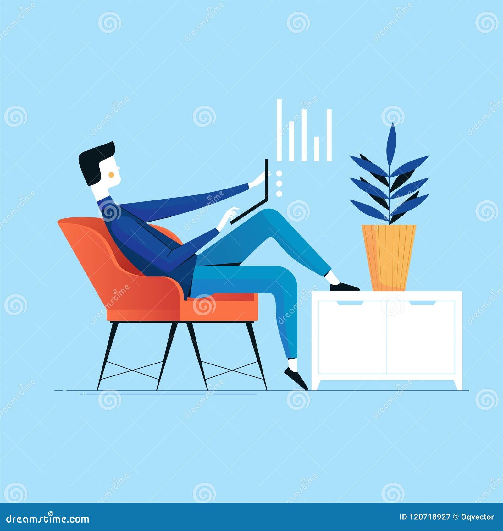 Geschäftsmann mit dem Laptop, der erfolgreich in einem Stuhl nahe bei dem Schrank und der Anlage arbeitet Vektorbegriffsillustrat