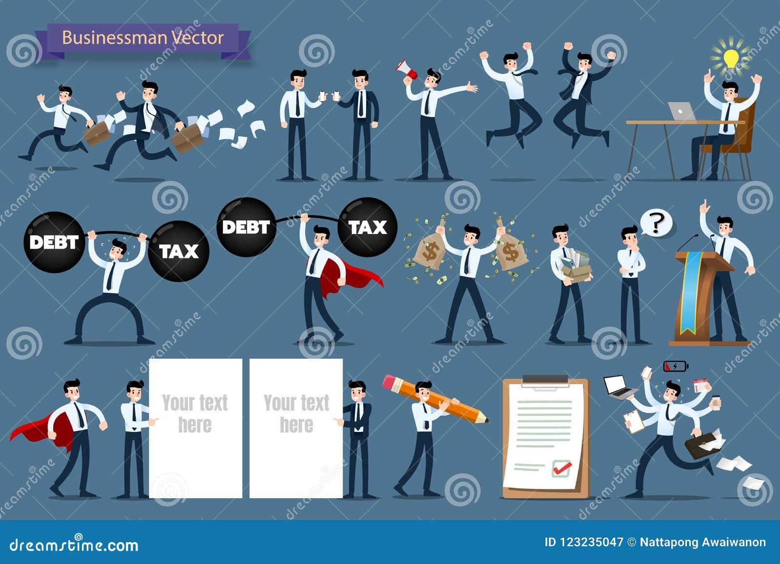 Geschäftsmann mit den verschiedenen Haltungen, Prozessgesten, Aktionen und Haltungscharakterdesignsatz bearbeitend und darstellen