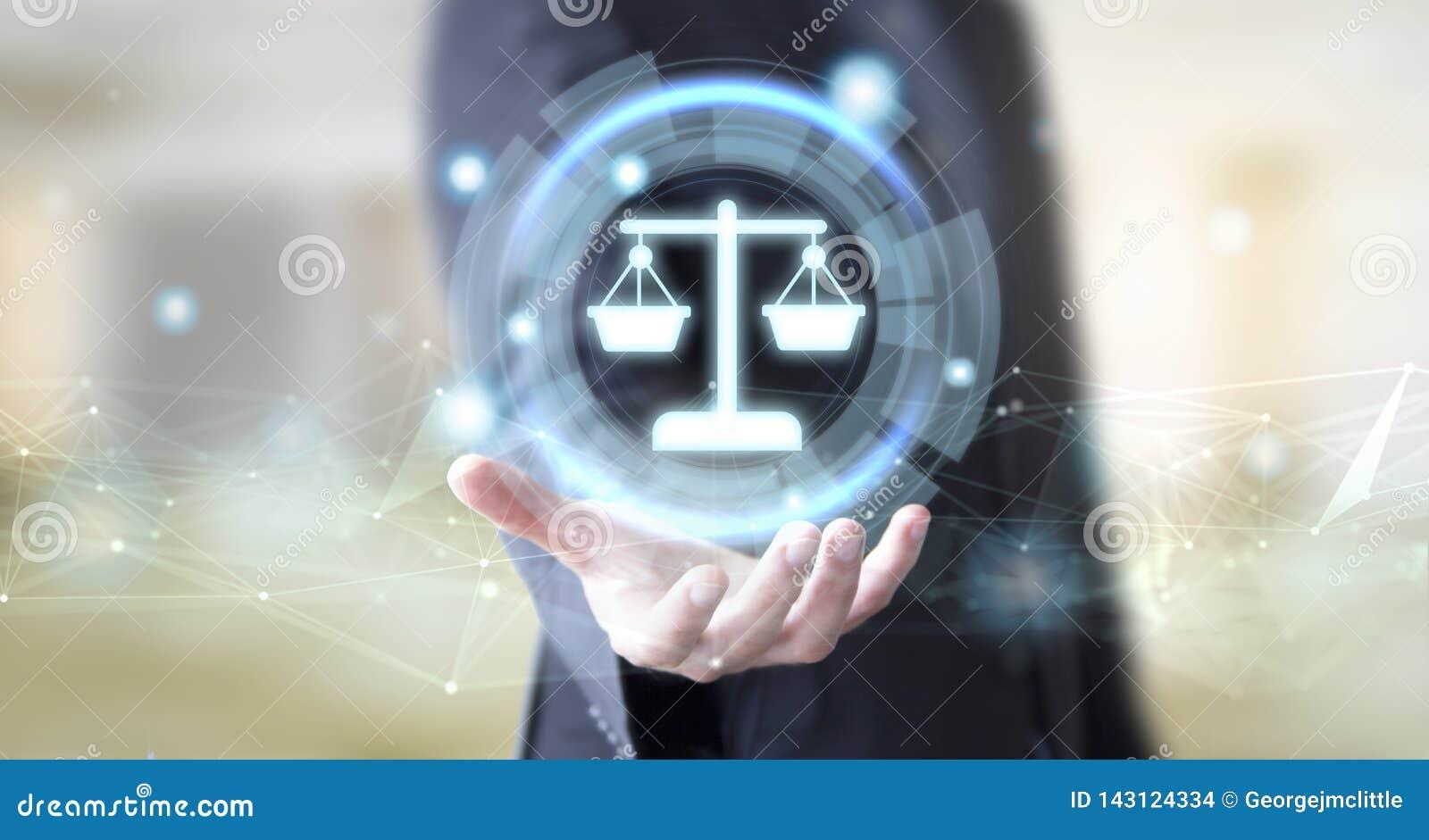 Geschäftsmann mit digitalem Rechtsberatungskonzept