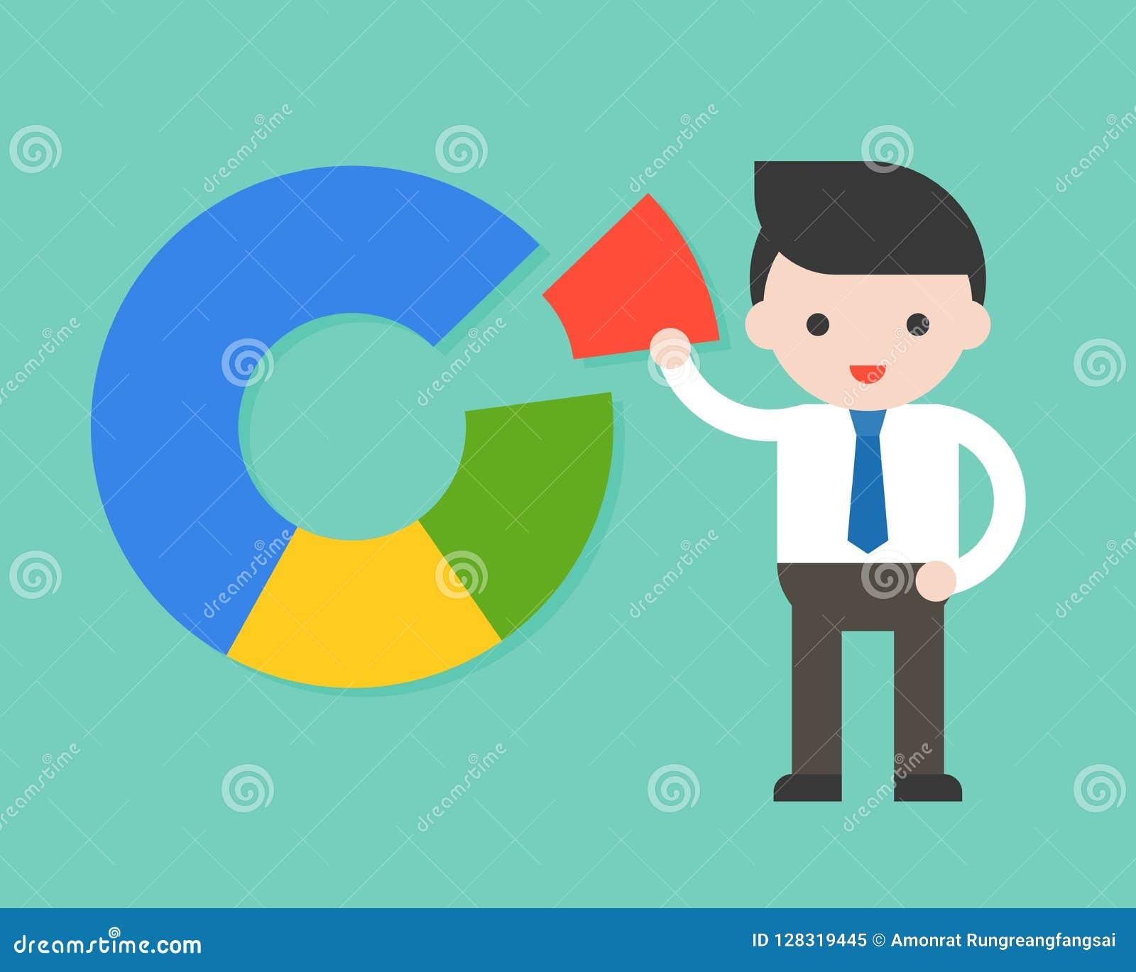 Geschäftsmann mit Donut-Diagramm, Marktanteilkonzept