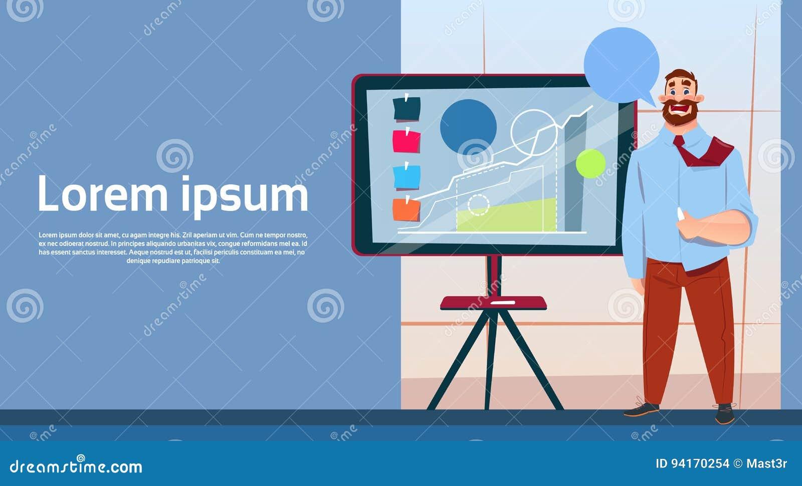 Geschäftsmann mit Flip Chart Seminar Training Conference-Brainstorming-Darstellungs-Finanzdiagramm