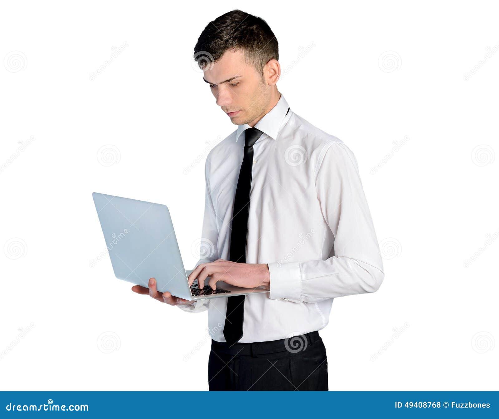 Download Geschäftsmann mit Laptop stockfoto. Bild von nahaufnahme - 49408768