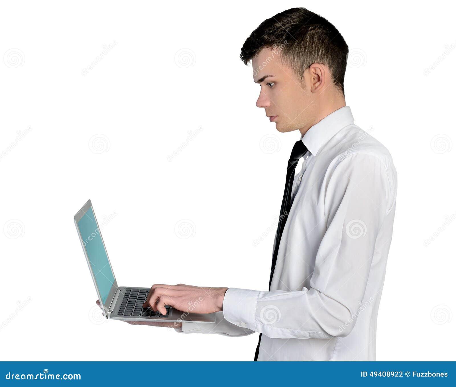 Download Geschäftsmann mit Laptop stockfoto. Bild von getrennt - 49408922