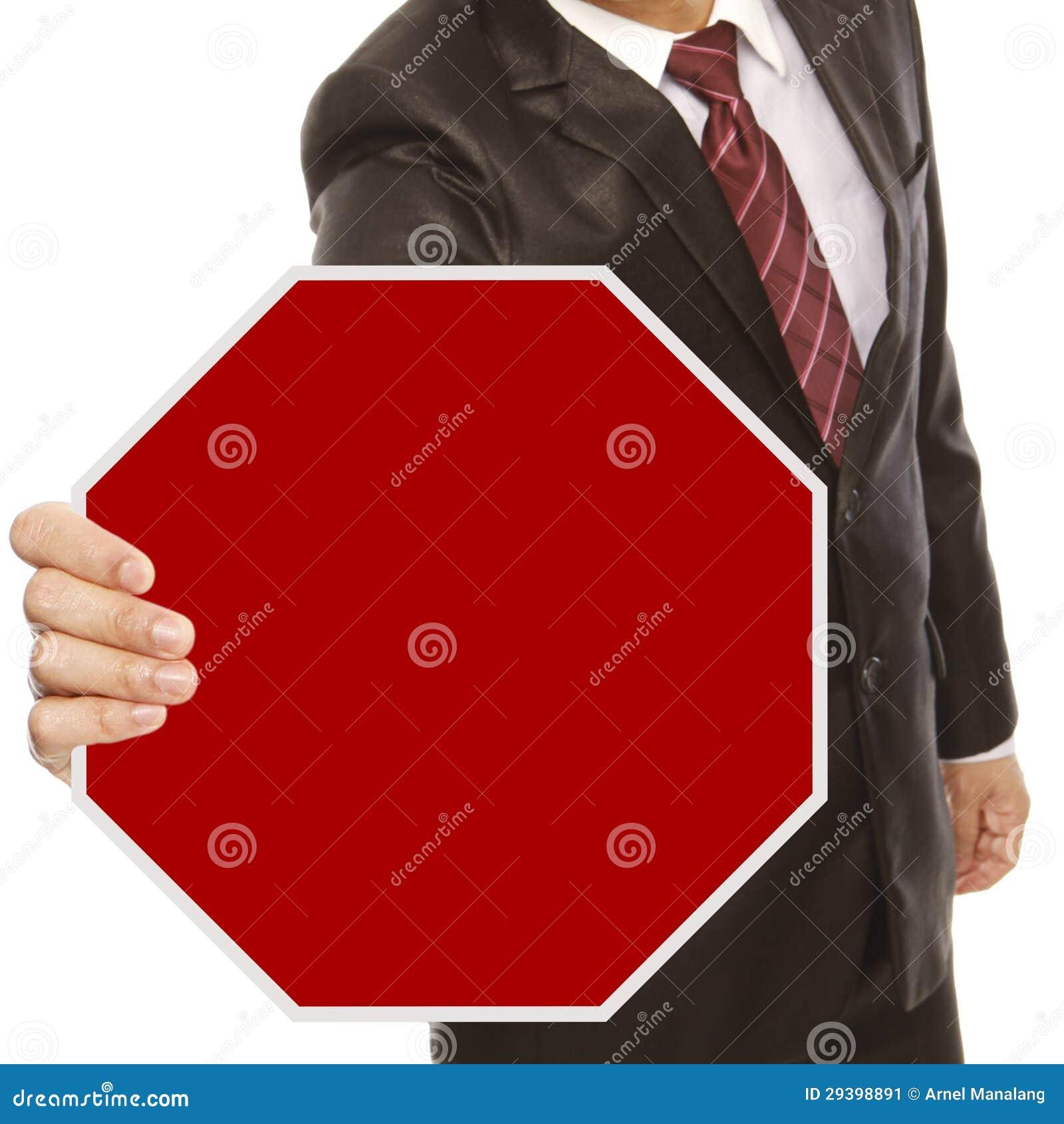 Geschäftsmann mit leerem Stoppschild