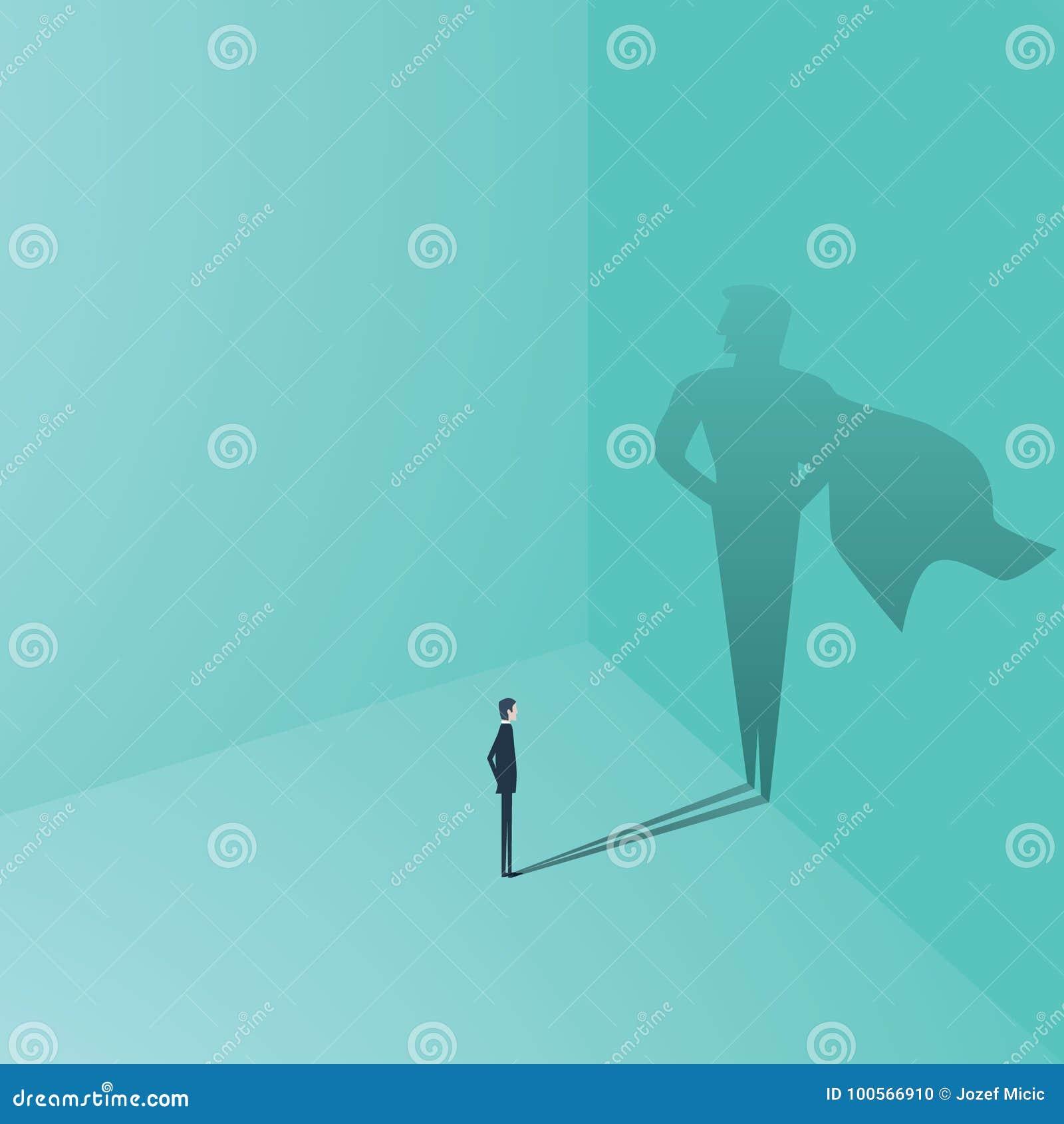 Geschäftsmann mit Superheldschatten-Vektorkonzept Geschäftssymbol des Ehrgeizes, Erfolg, Motivation, Führung, Mut