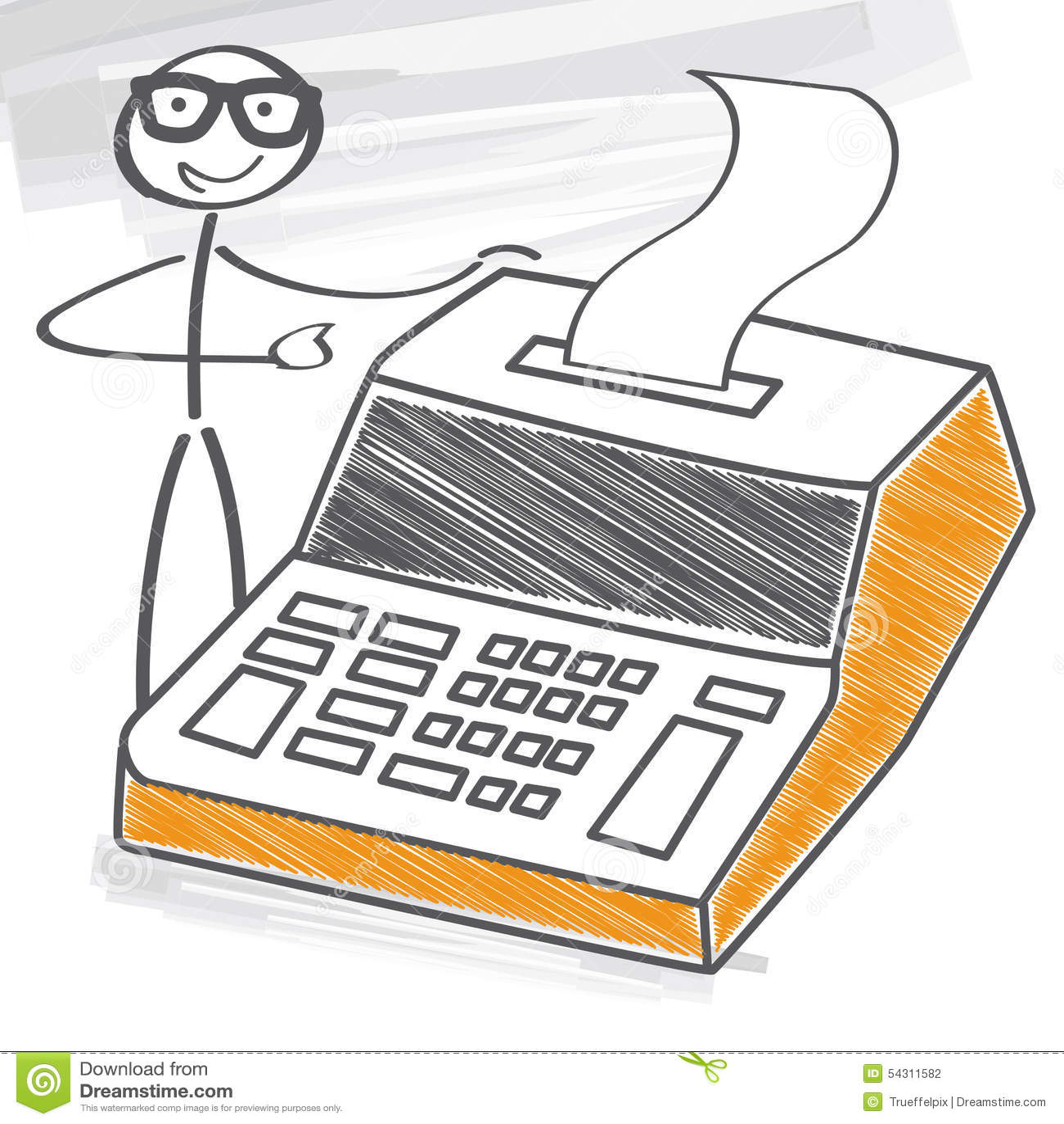 Geschäftsmann mit Tischrechner