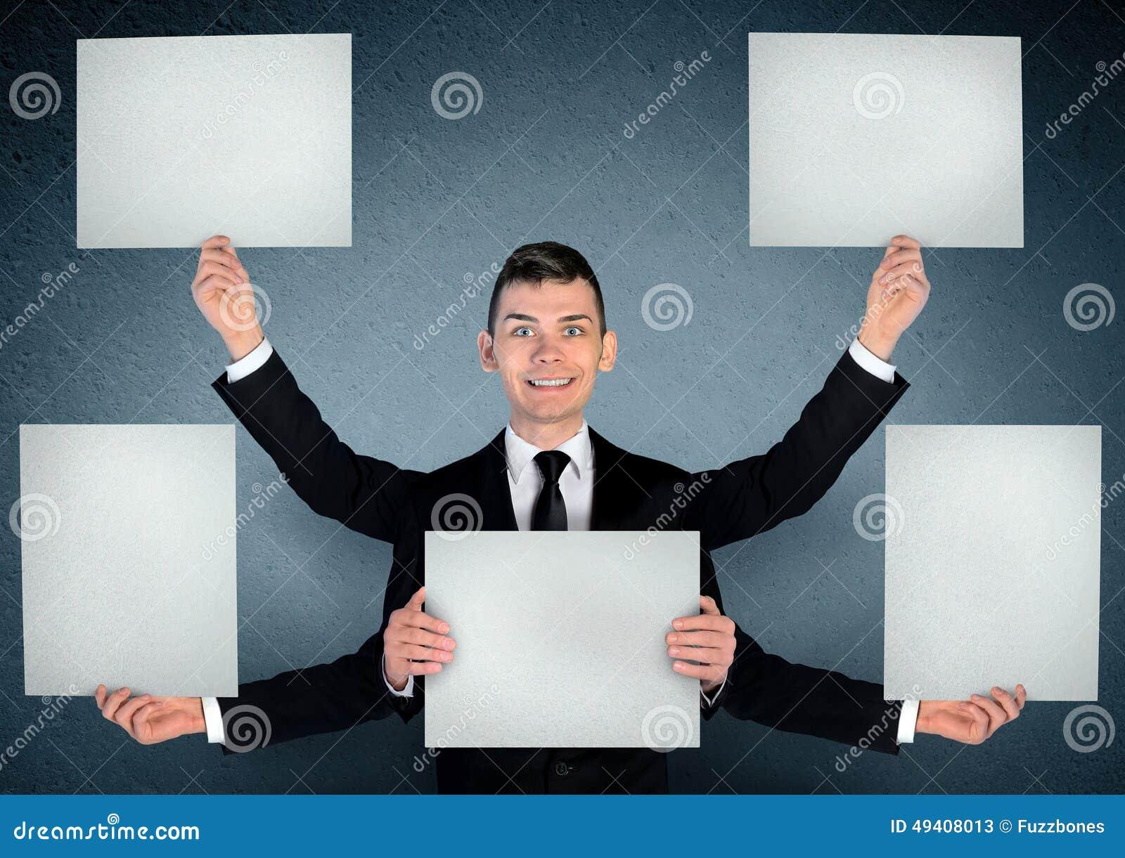 Download Geschäftsmann mit Vorstand stockbild. Bild von reklameanzeige - 49408013