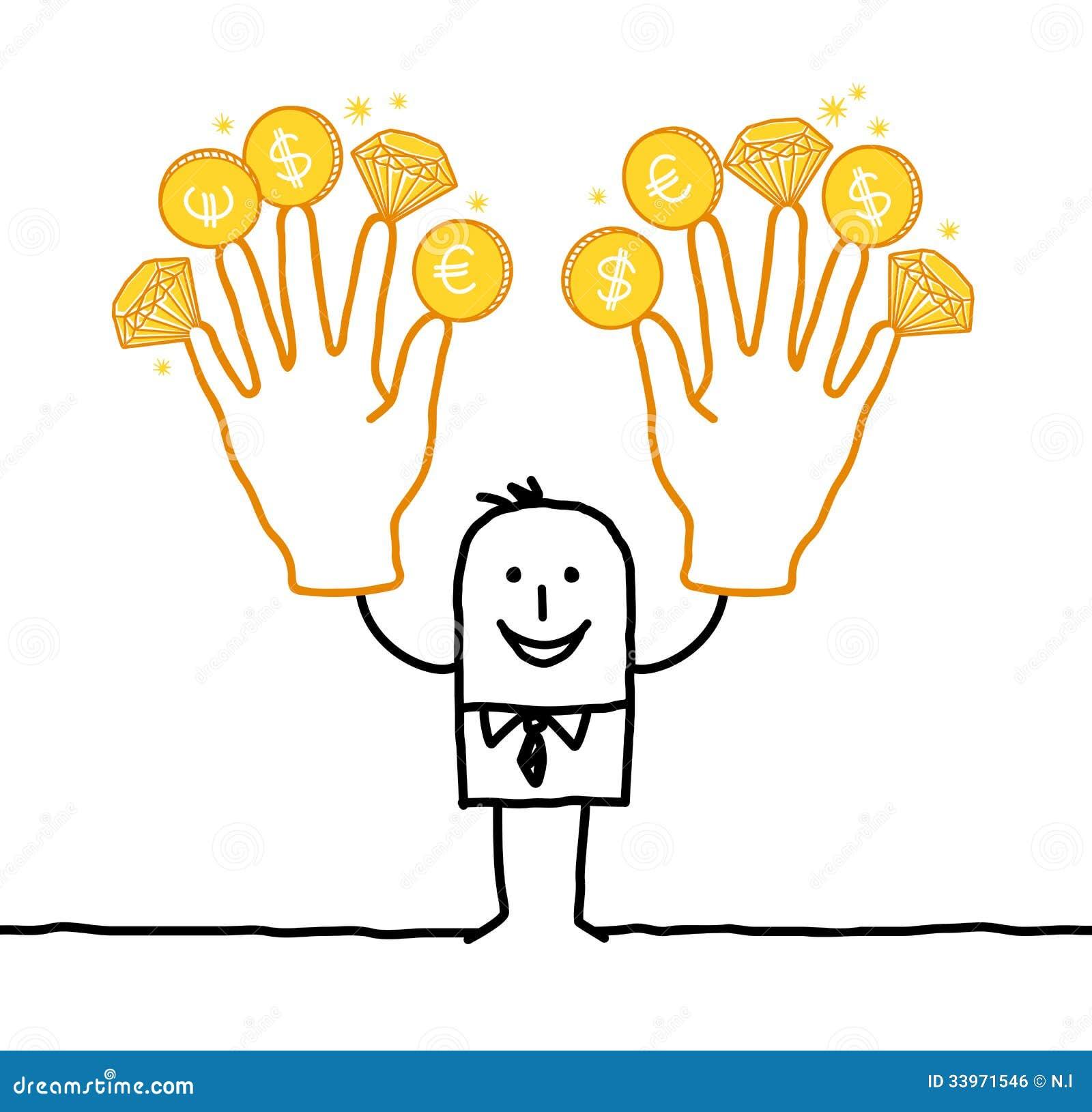 Geschäftsmann mit zwei großen goldenen Händen