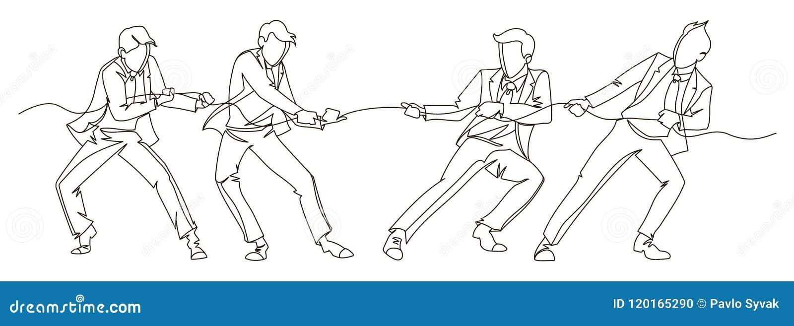Geschäftsmann Pulling die Seil-ununterbrochene Linie Kunst Geschäfts-Teamwork-lineares Konzept Schattenbild-Leute-Wettbewerb